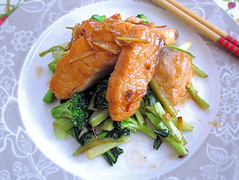 Stir fried salmon