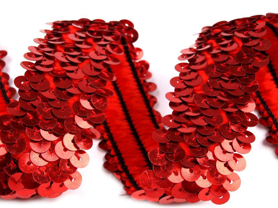 Paillettenborte elastisch 30mm, rot