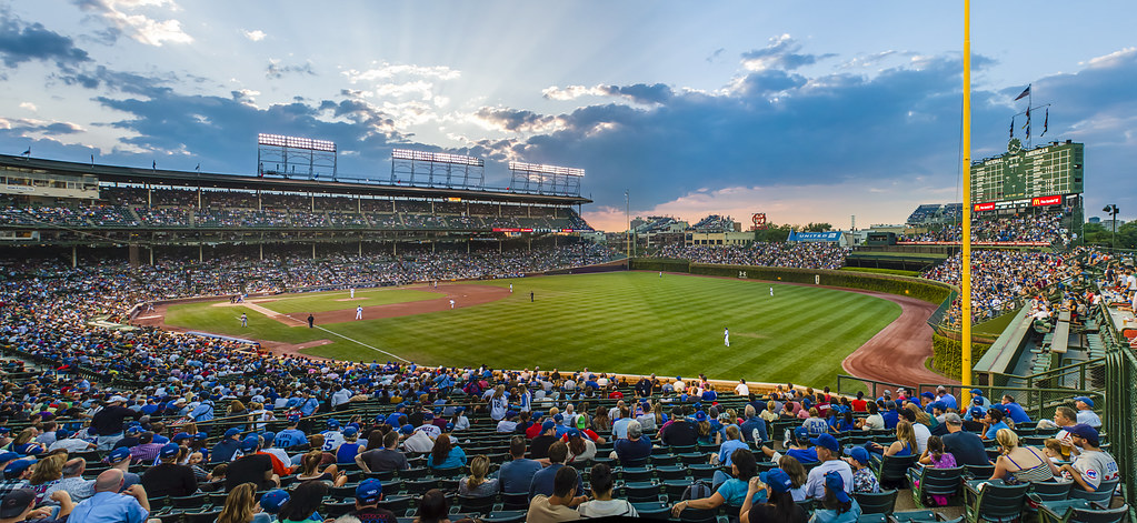 wrigley field sunset as the sun sets on another cubs