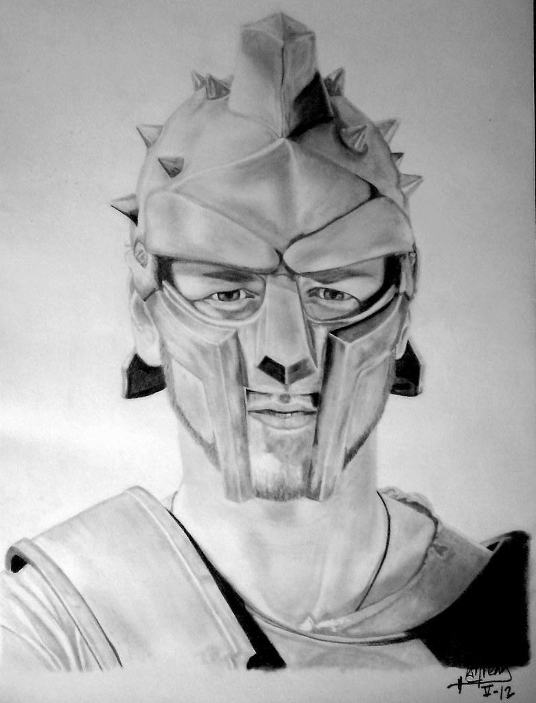 Russell Crowe Gladiator   Realizado con lápiz de grafito