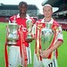 Patrick Vieira and Emmanuel Petit with a few trophies