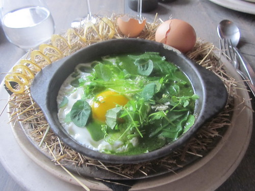 Noma - Copenhagen - August 2012 - The Hen and the Egg, cooked with Hay Oil, Spinach, Nasturium, Oxalis, and Parsley Sauce | by garyalanfine