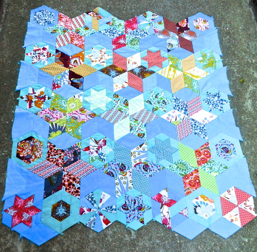 Loulouthi hexies, started summer 2011, now almost done | by The Enchanted Bobbin