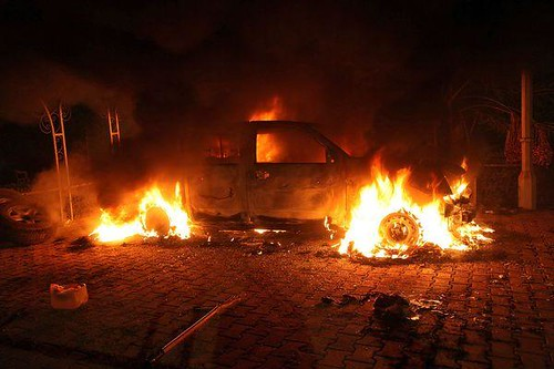 Scene outside the United States Consulate in Benghazi, Libya after the building was bombed. The U.S. ambassador and three other personnel were killed in the attacks. | by Pan-African News Wire File Photos