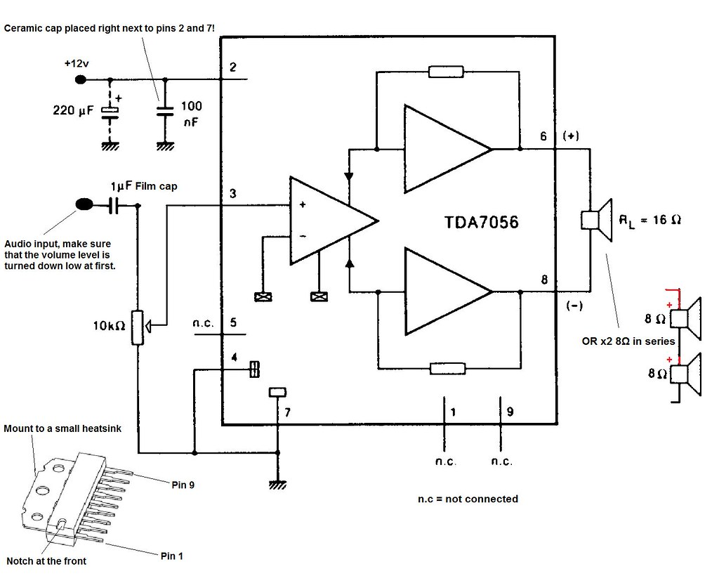 Tda7056 Audio Amplifier Circuit The Tda7056 Is A 3w