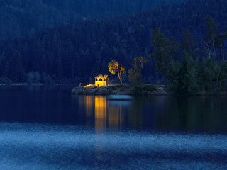 Blue Hour at the Lake and in the City Schluchsee, Germany | by Batikart