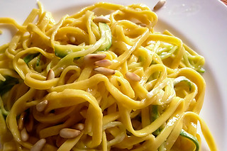 Lemon Parmigiano Tagliatelle with zucchini and pine nuts | by Carmelita Cookitaly