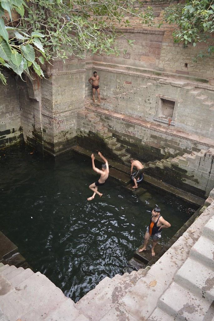 Locals enjoy a dip at Jhailsi jhalara.