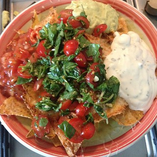 #nachos with #homemade tomato salad! #noms #foodporn | by lilahjeane