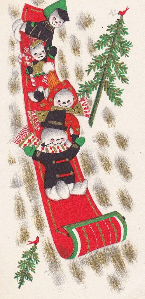 Vintage Hallmark Slim Jims Christmas Snow Family Inside