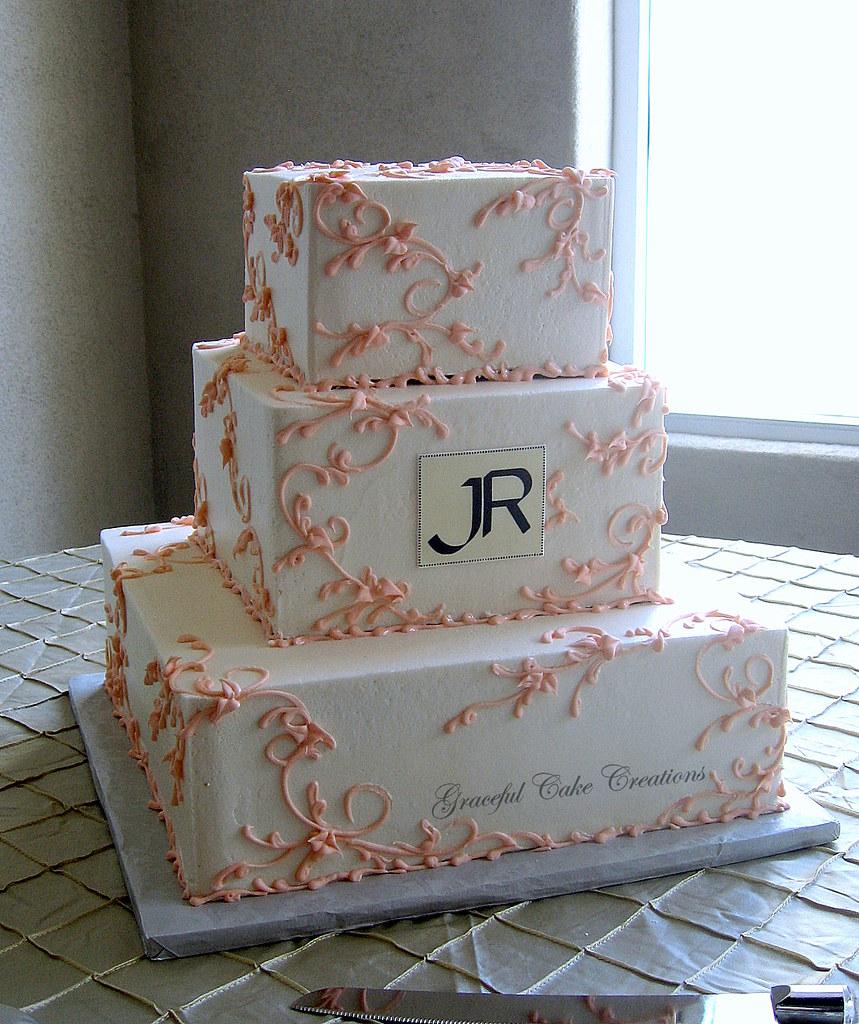 Wedding Cake Peach Ribbon