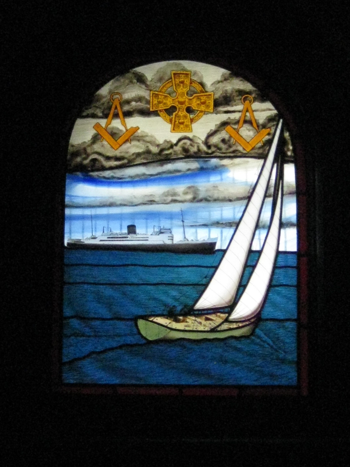 Stained Glass Window in the St Peter the Mariner Chapel; the Mission to Seamen