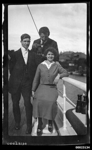 Two men and a woman, possibly related to Captain Edward R Sterling, on a ship's deck, 1900-1920 | by Australian National Maritime Museum on The Commons