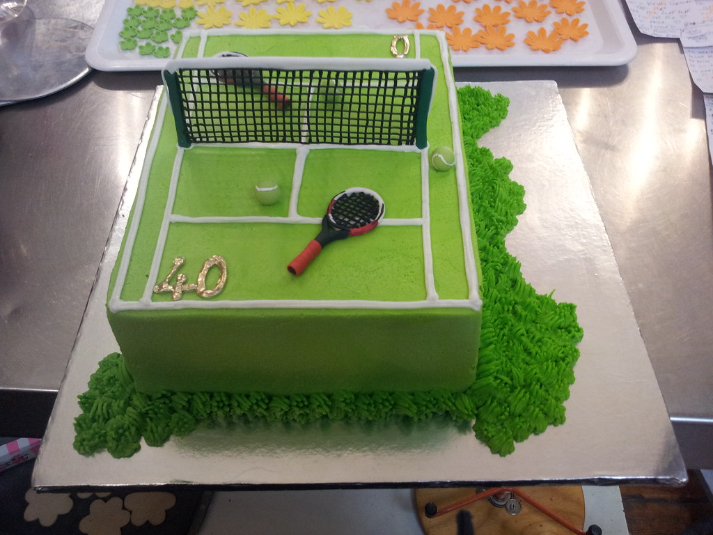 A4 Wicked Chocolate Tennis Court Cake Iced In Green Butter