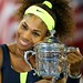 Serena Williams of the United States hugs the championship trophy after defeating Victoria Azarenka of Belarus to win the women's singles final match on Day Fourteen of the 2012 US Open.