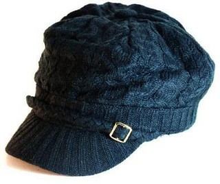 Black Knitted Newsboy Cab Driver Hat with side buckle | by pixtpost