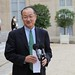World Bank Group President Jim Yong Kim gives a statement following a meeting with French President François Hollande