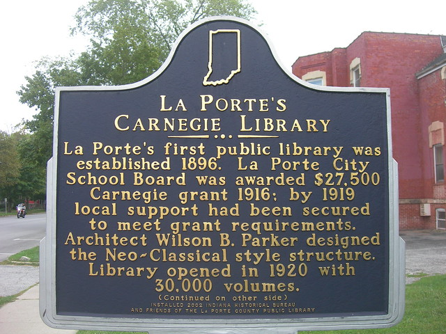Laporte carnegie library marker flickr photo sharing for Laporte county public library