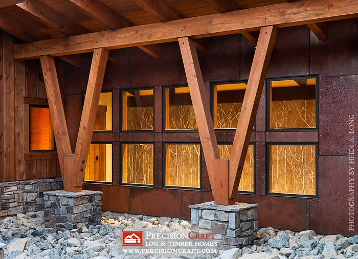 Timber supports modern timber frame home precisioncraf for Contemporary timber homes