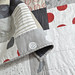 red + blk + white + linen quilt