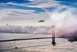 The Space Shuttle Endeavour Over Golden Gate Bridge | by davidyuweb