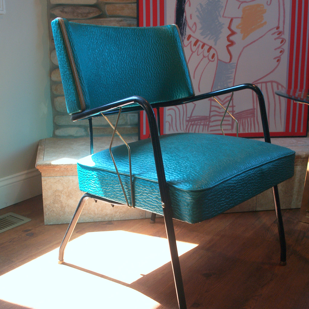 Vintage art deco style 1950s chair mid century modern upho for 1950s chair styles