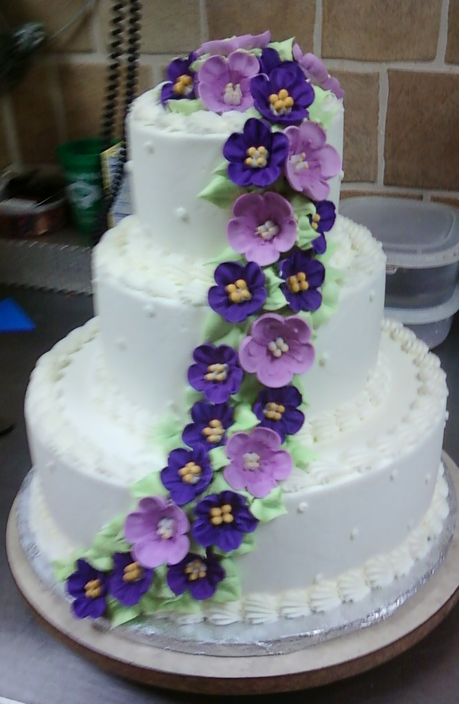 3 tier white cake with purple flowers santonis 3 tier whi flickr 3 tier white cake with purple flowers by sarapweav mightylinksfo