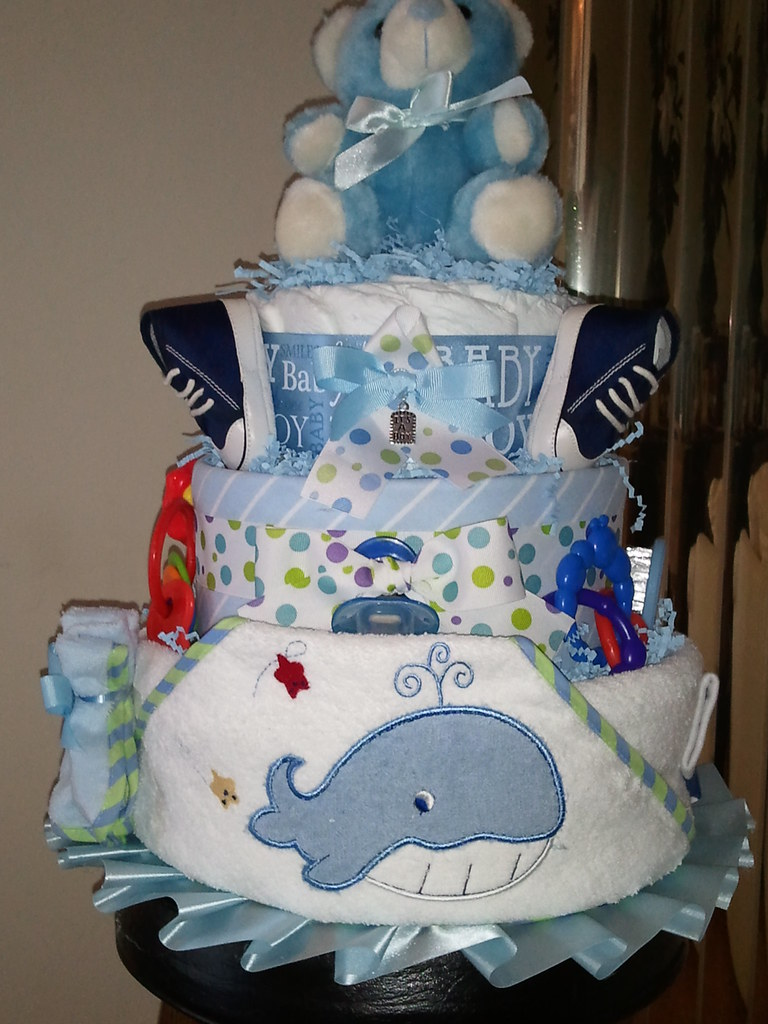 Boy Diaper Cake Decorations : 3 Tier Baby Boy Diaper Cake Baby Biz Diaper Cakes Flickr