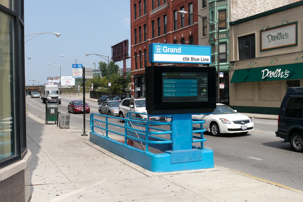 Cta Train And Bus Tracker Display Outside Grand Blue Line
