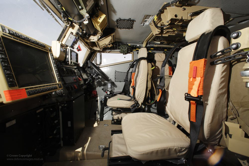 Interior of foxhound light protected patrol vehicle in afg flickr for Interior car light laws california