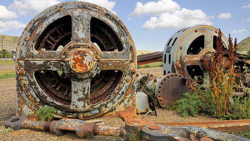 Rusted-out ancient electric motors - Atlas Coal Mine National Historic Site, East Coulee, Drumheller, Red Deer River Valley, Alberta | by edk7