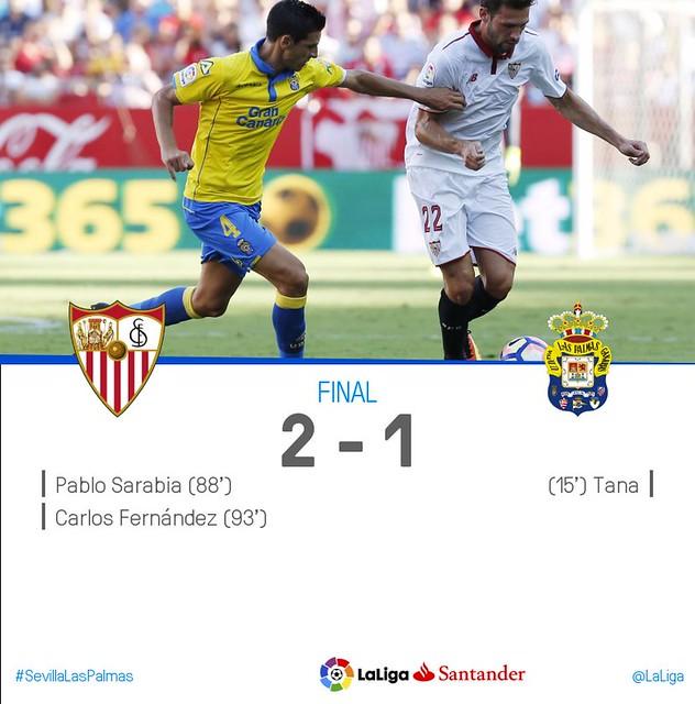 La Liga (Jornada 3): Sevilla FC 2 - UD Las Palmas 1