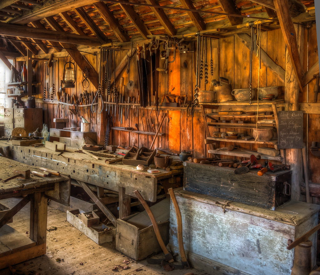 A late 19th century carpenter's workshop with its original ...