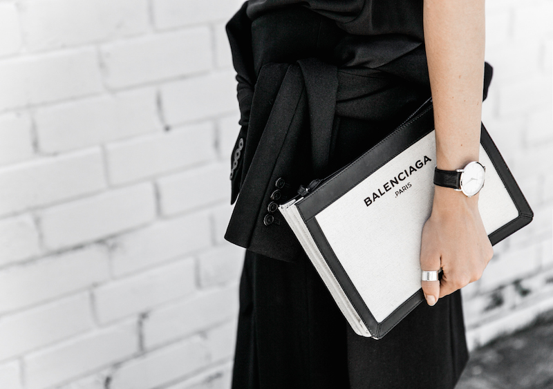 dion lee fine line cami minimal street style inspo all black Balenciaga canvas pochette bag Isabel Marant sneakers fashion blogger modern legacy (3 of 14)