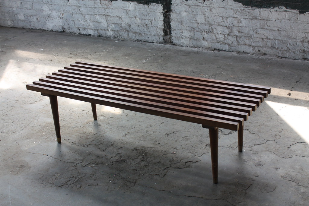 ... Iconic Mid Century Modern Slat Bench/Coffee Table (3)   (U.S.A.
