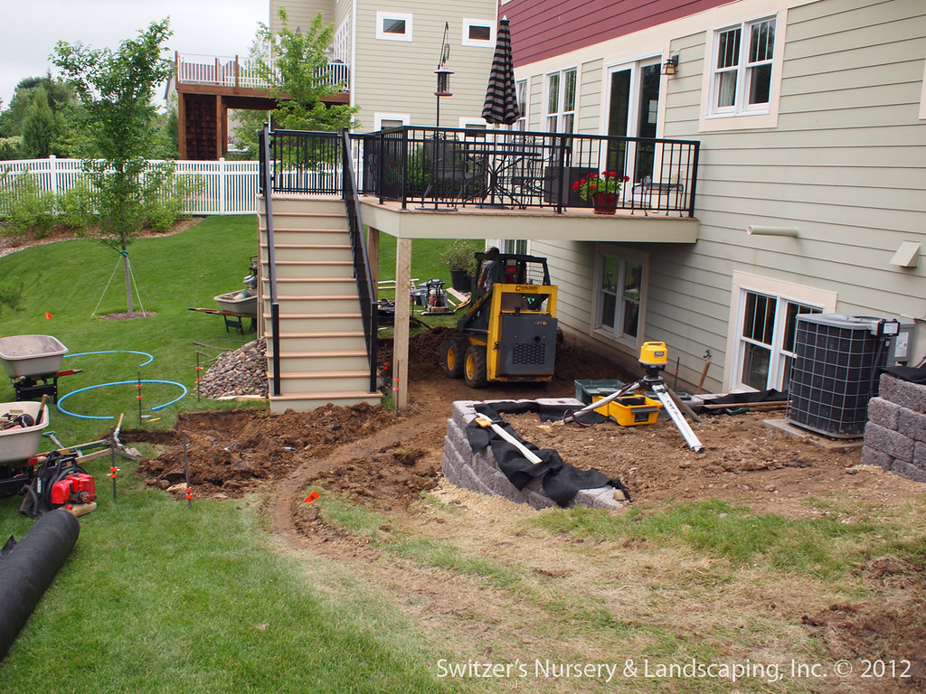 paver patio under deck with retaining wall steps by switzers nursery landscaping - Patio Under Deck