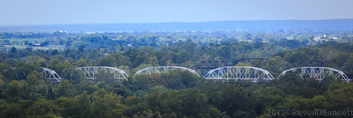 View of the Colorado River Truss Bridge from Monument Hill in La Grange, TX | by Russell J Bennett