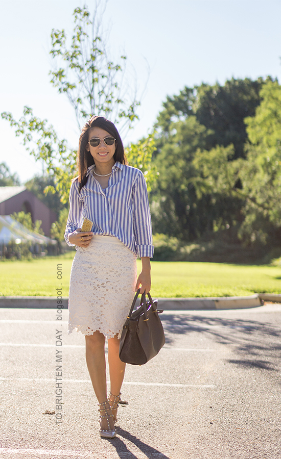blue striped button up shirt, pearl necklace, white lace pencil skirt, gray tote, nude studded pumps