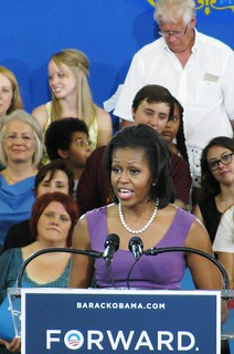 Michelle Obama addresses crowd. | by WisPolitics.com