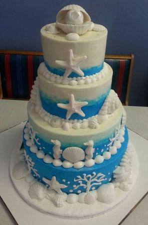 sea themed wedding cakes sea themed 4tier wedding cake with fondant seashells flickr 19719