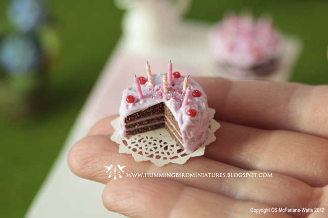 Cherry Chocolate Pink Birthday Cake | One inch scale ...