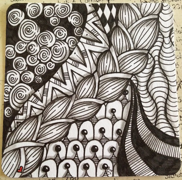 Zentangle tile flickr photo sharing for Zentangle tile template