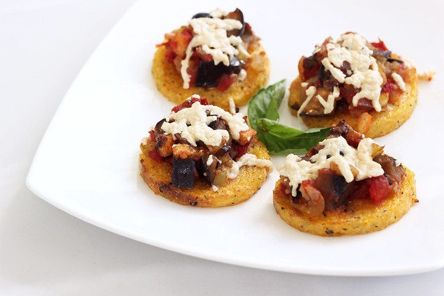 Polenta Rounds with Eggplant Caponata – Gluten-free + Vegan    Source: Polenta Rounds with Eggplant Caponata – Gluten-Free + Vegan