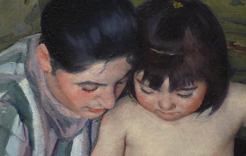 cassatt the childs bath detail of faces mary cassatt