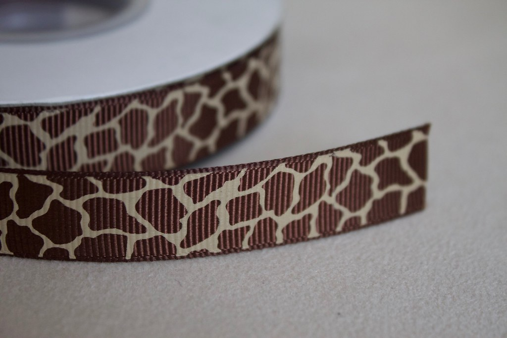 Ripsband Giraffe 15mm, braun