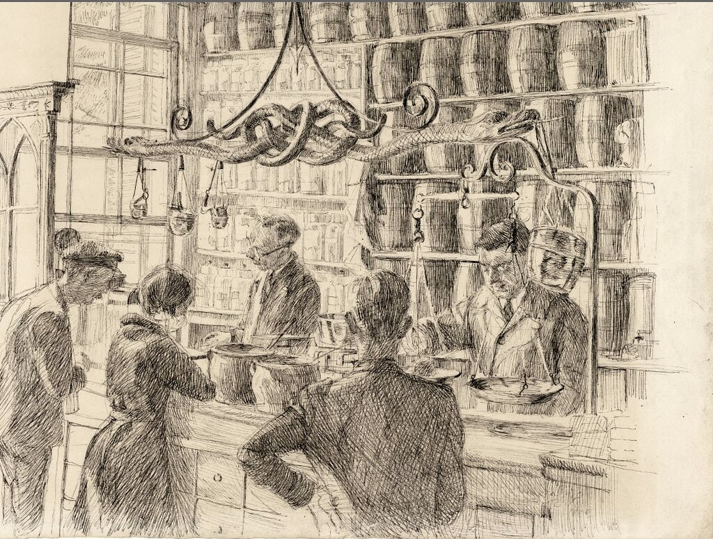 Jacob Hooy, Apothicaire du 18e à Amsterdam - Dessin de Royaards.