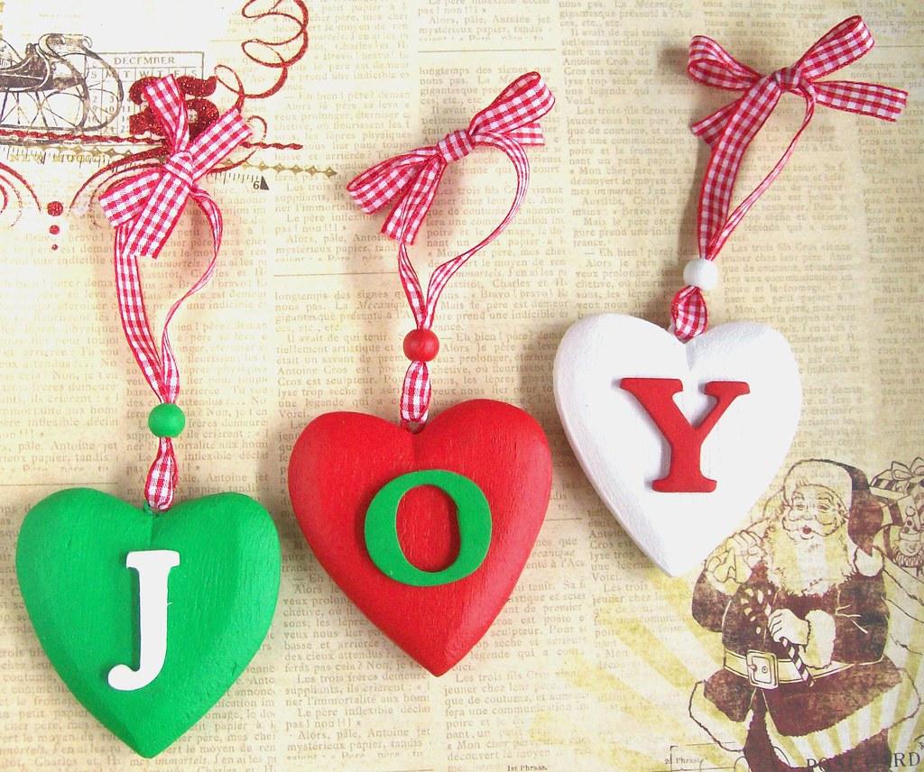 Christmas Joy Heart Decorations 3 Rustic Wooden