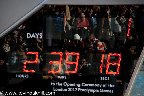 Reflection of crowds in the Paralympic countdown clock, Trafalgar Square, London | by www.kevinoakhill.com