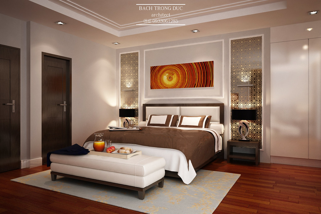 Master bedroom interior design with some semiclassical det for New master bedroom designs
