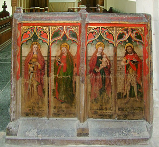 rood screen (south): St Catherine, St Barbara, Blessed Virgin and child, St John the Baptist